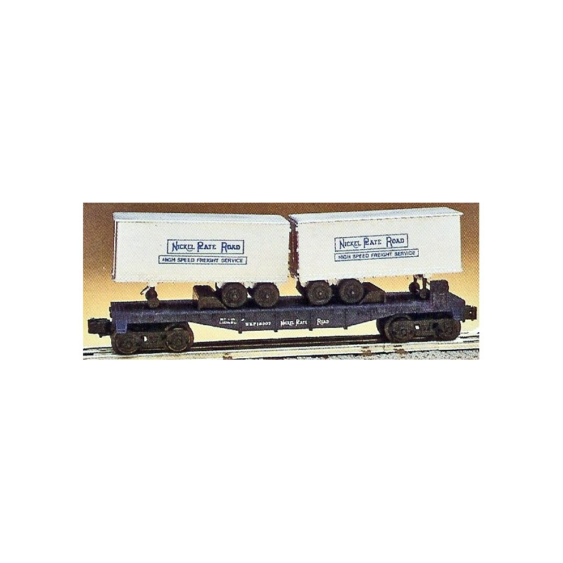 LIONEL 16307 NICKEL PLATE ROAD FLAT CAR WITH TRAILERS