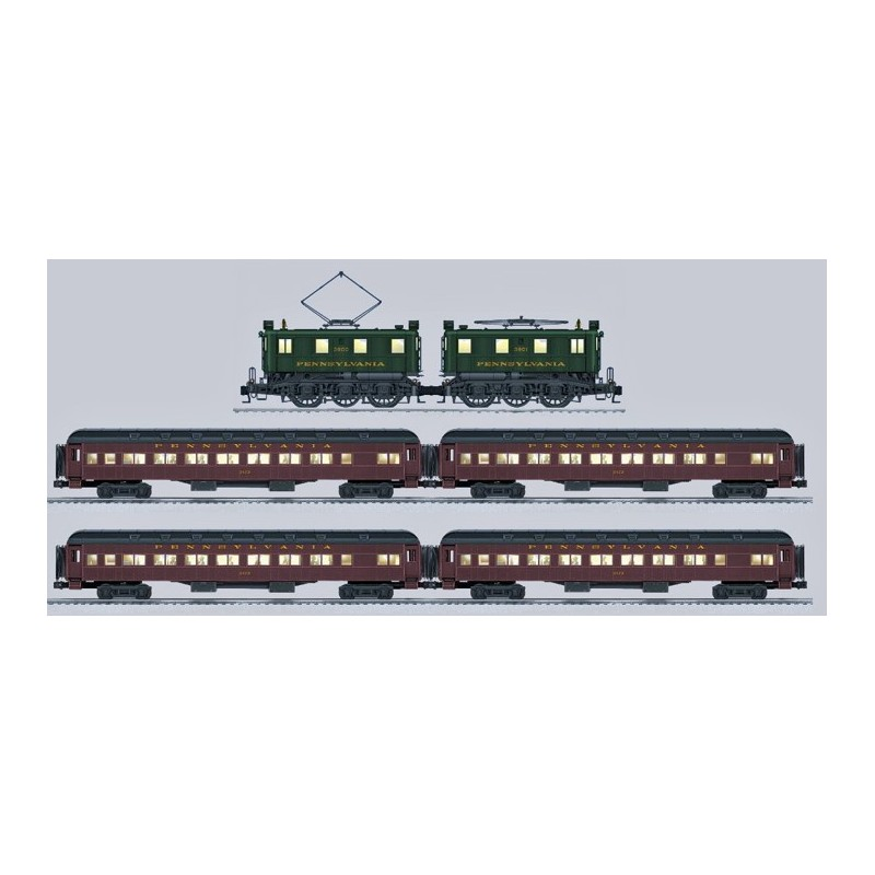 LIONEL 18364 PENNSYLVANIA BB1 ELECTRIC LOCOMOTIVE WITH 15554 & 15558 PENNSYLVANIA HEAVYWEIGHT PASSENGER CARS
