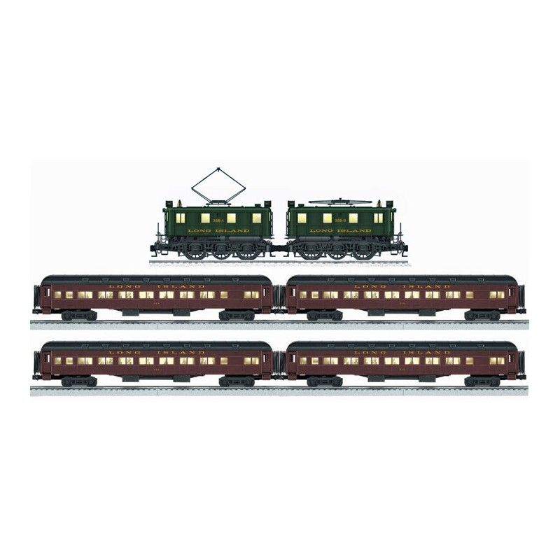 LIONEL 18367 LONG ISLAND BB1 ELECTRIC LOCOMOTIVE WITH 15564 & 15568 LONG ISLAND HEAVYWEIGHT PASSENGER CARS