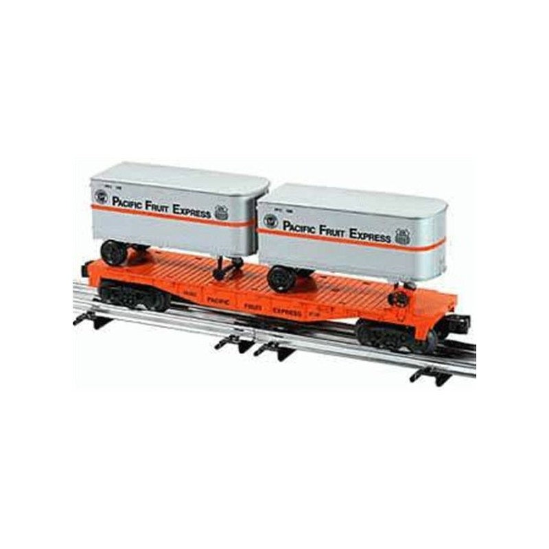 LIONEL 26022 PACIFIC FRUIT EXPRESS FLATCAR WITH TWO TRAILERS