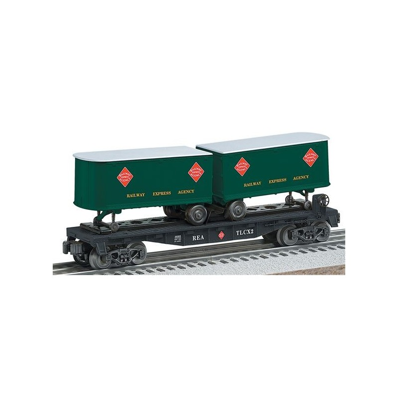 LIONEL 26065 RAILWAY EXPRESS AGENCY FLATCAR WITH PIGGYBACK TRAILERS