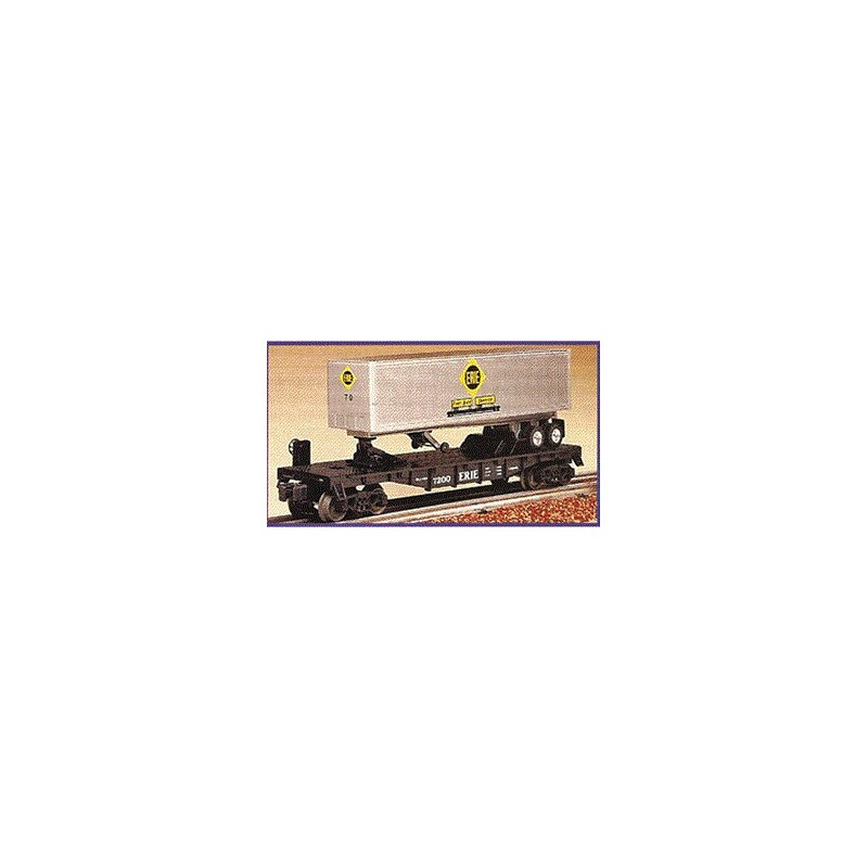 LIONEL 19415 ERIE FLATCAR WITH TRAILER