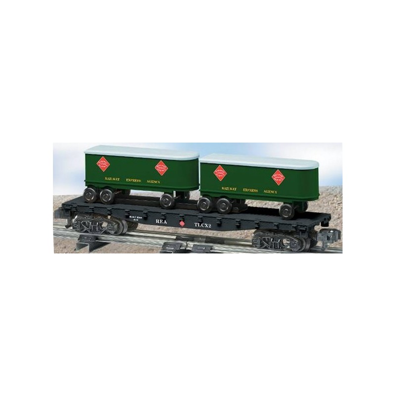 AMERICAN FLYER 48539 REA FLATCAR WITH PIGGYBACK TRAILERS