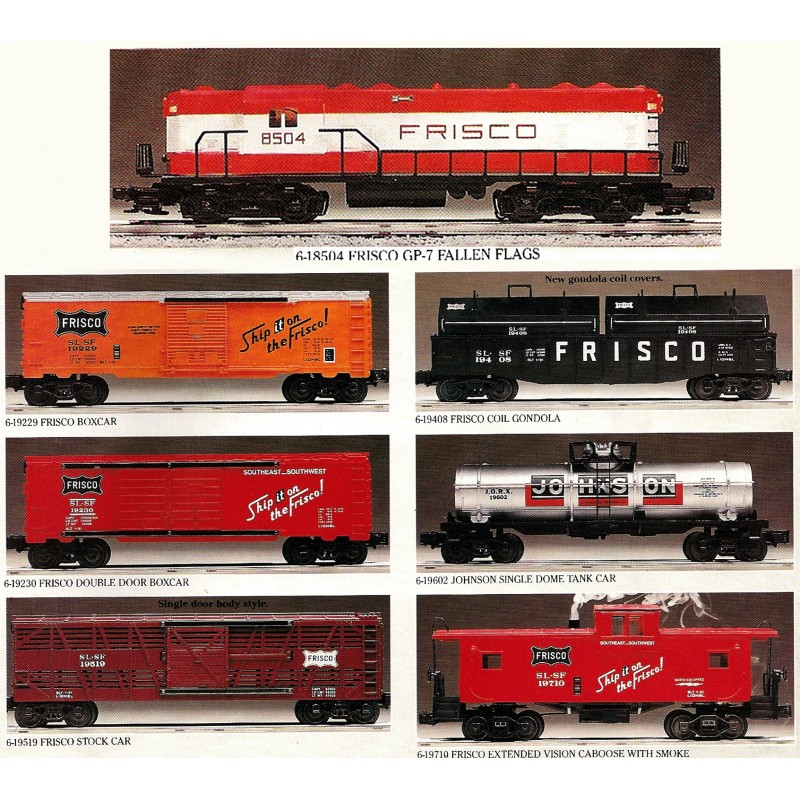 LIONEL 18504 FRISCO FALLEN FLAGS SERIES 5 WITH LIONEL 19229, 19230, 19408, 19519, 19602, 19710
